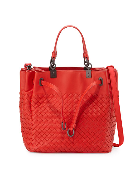 Bottega Veneta Woven Intrecciato Pleated Tote Bag, Bright