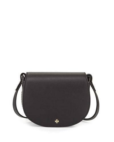 Mini Leather Saddle Bag, Black