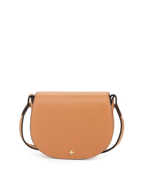 Tory Burch Mini Leather Saddle Bag, Camello