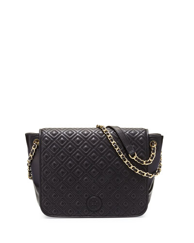 Marion Quilted Small Flap Shoulder Bag, Black