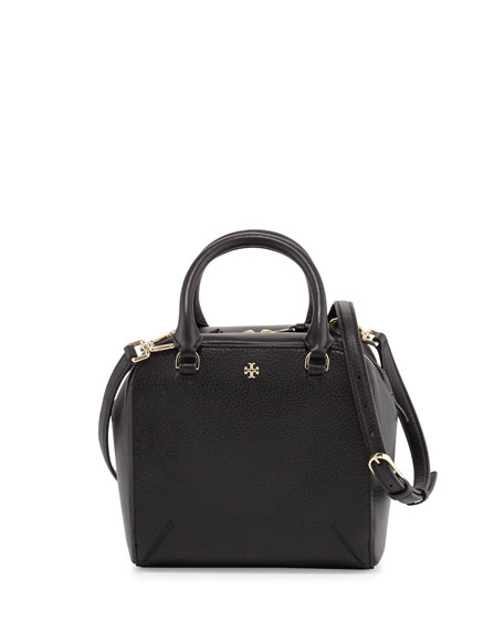 Tory Burch Robinson Pebbled Mini Satchel Bag, Black