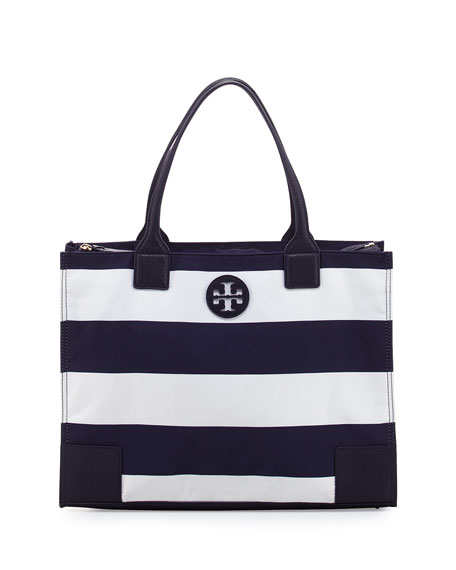 Ella Packable Striped Zip-Top Tote Bag, Navy