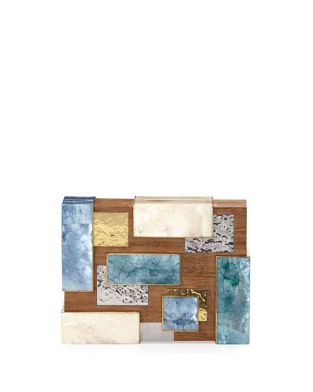 Ramya Cubist Minaudiere, Wood Multi