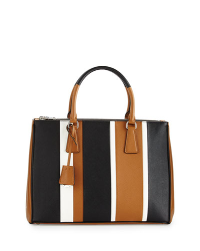 f9d5307b5f Prada Saffiano Baiadera Striped Galleria Tote Bag