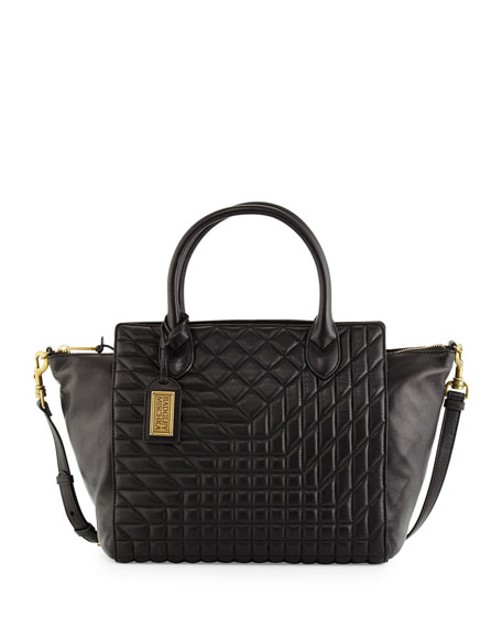 Badgley Mischka Coralie East-West Quilted-Leather Satchel Bag, Black
