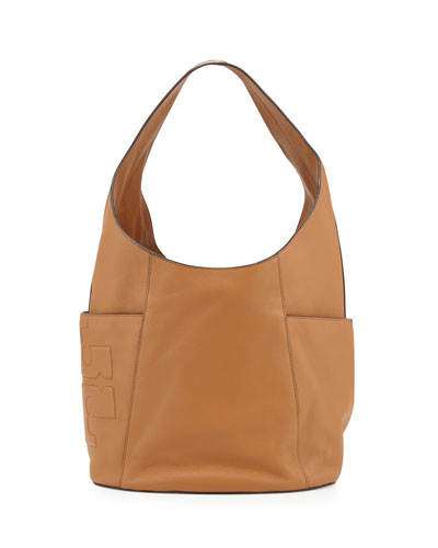 Bombé-T Leather Hobo Bag, Bark