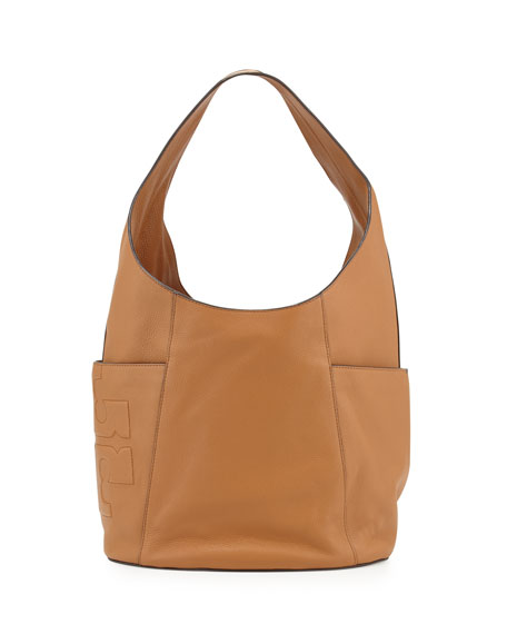 Tory BurchBombé-T Leather Hobo Bag, Bark