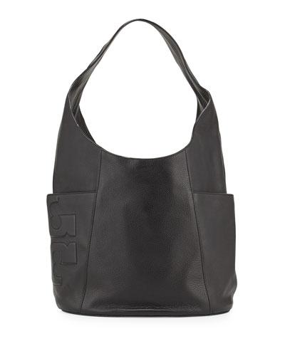 Bombé-T Leather Hobo Bag, Black