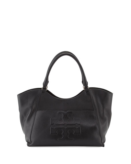 Tory Burch Bombé-T Leather Tote Bag, Black