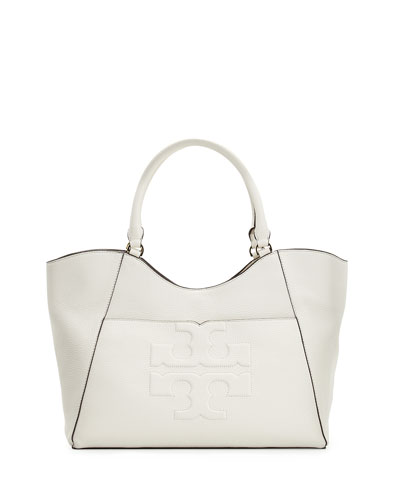 Bombé-T Leather Tote Bag, New Ivory