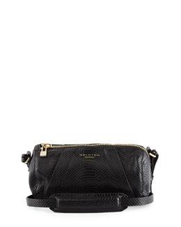Snake-Embossed Leather Barrel Bag, Black