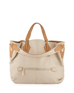 Two-Tone Leather Hobo Bag, Camel/Multi