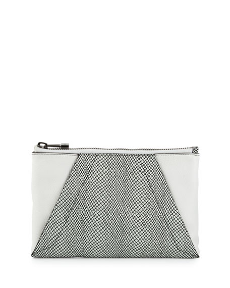 Halston Heritage Snake-Embossed Leather Evening Clutch Bag, White/Black