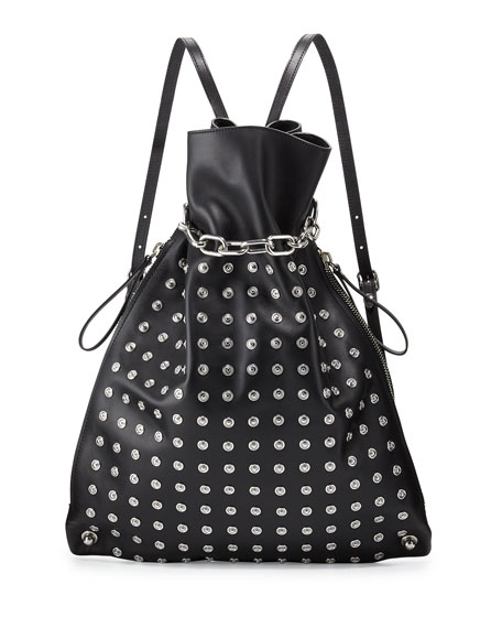 Alexander WangAttica Chain Gym Sack Bag w/Snaps, Black