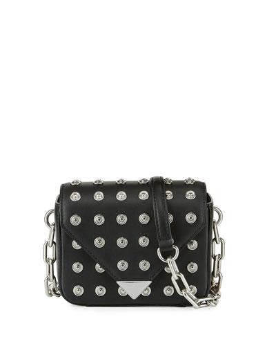 Mini Leather Prisma Crossbody Bag, Black