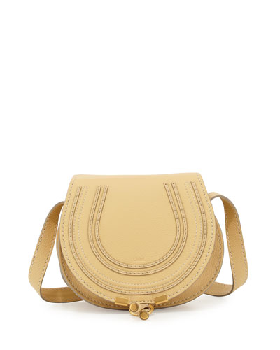 Marcie Small Calf Saddle Bag, Cork Beige