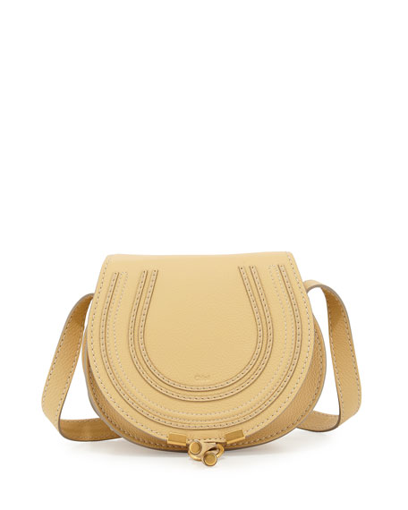 Chloe Marcie Small Calf Saddle Bag, Cork Beige