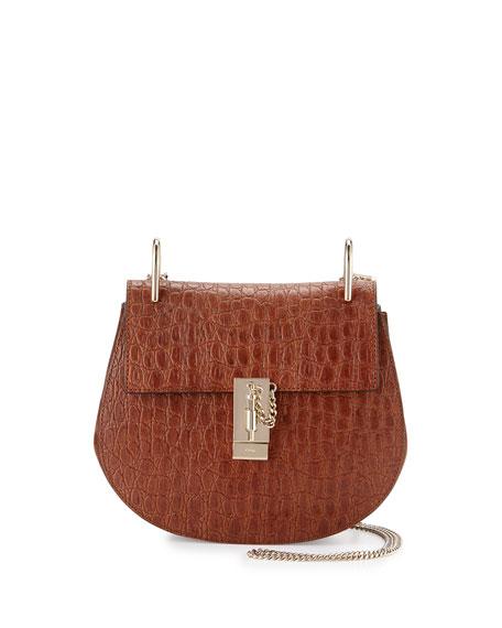 chloe imitation handbags - Chloe Drew Small Crocodile-Embossed Shoulder Bag, Mahogany