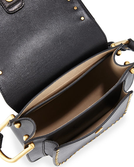 Hudson Large Studded Leather Saddle Bag, Black