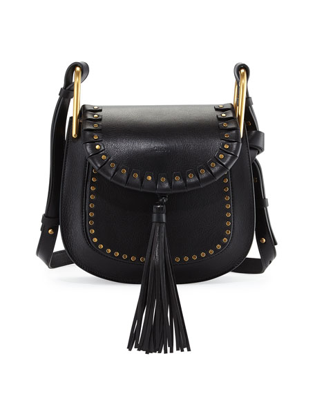 Chloe Hudson Large Studded Leather Saddle Bag Black