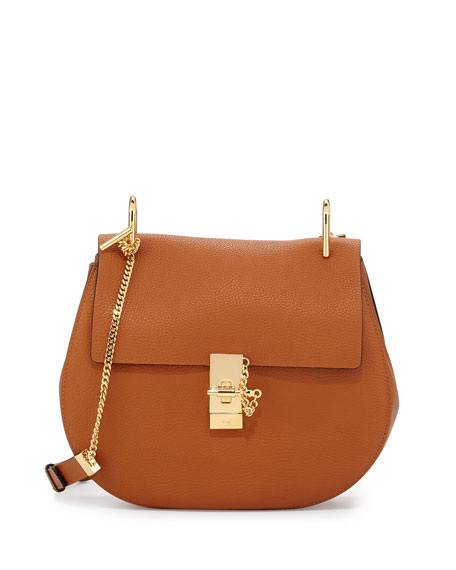 Chloe Drew Medium Grain Leather Saddle Bag, Caramel/Gold