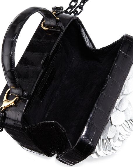 Nancy Gonzalez Floral Top-Handle Structured Box Bag, Black ...