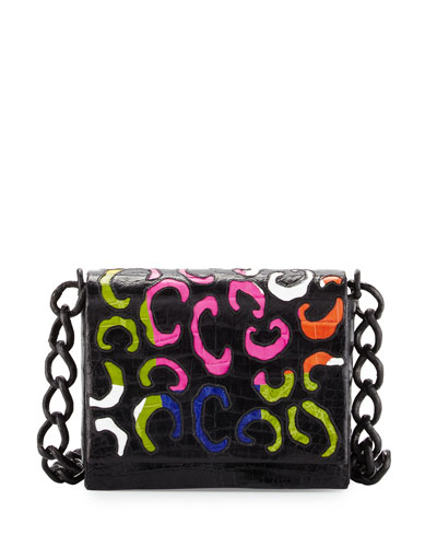 Crocodile Pattern Crossbody Bag, Black/Multi