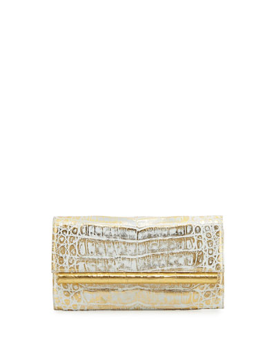 Crocodile Front-Flap Bar Clutch Bag, Gold