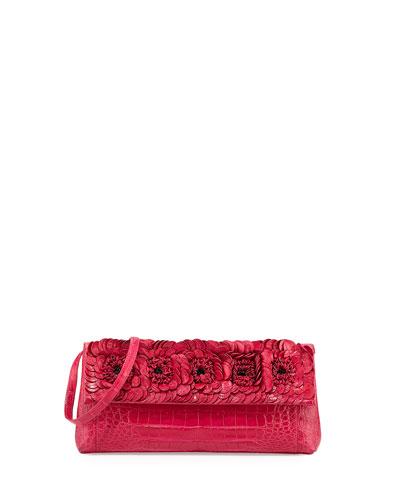 Floral Crocodile Flap Clutch Bag, Medium Pink