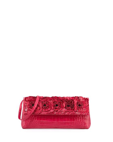 Nancy Gonzalez Floral Crocodile Flap Clutch Bag, Medium Pink
