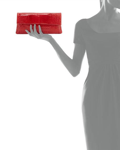 Gotham Crocodile Flap Clutch Bag, Red Shiny