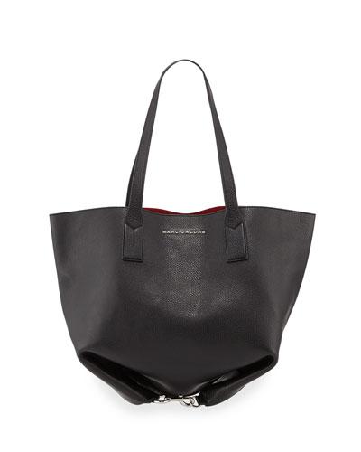 Wingman Leather Shopping Bag, Black/Multi