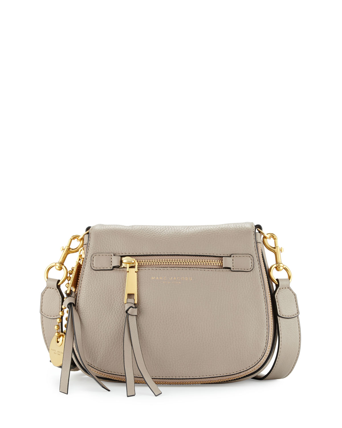 Marc Jacobs Recruit Small Leather Saddle Bag, Cement   Neiman Marcus 708e51e378