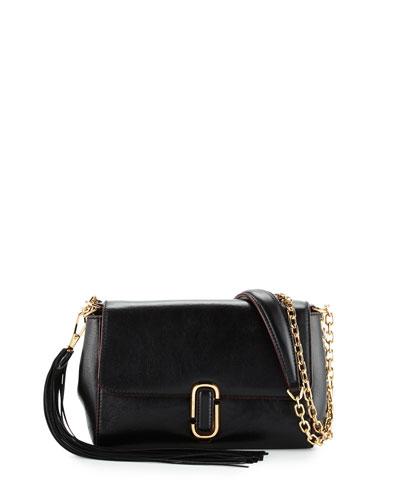 J Marc Leather Shoulder Bag, Black