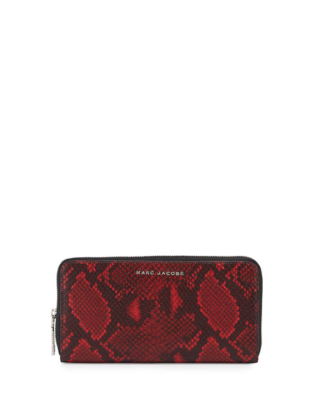 Marc Jacobs Block Letter Snake-Print Continental Wallet, Red