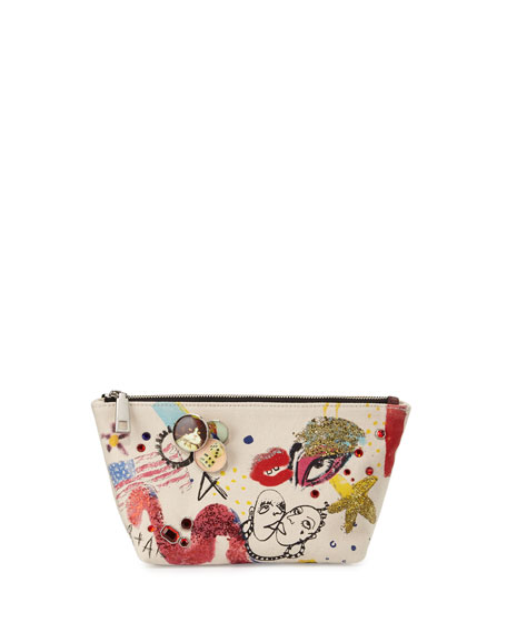 Marc Jacobs Collage Canvas Trapezoid Pouch, Ecru/Multi