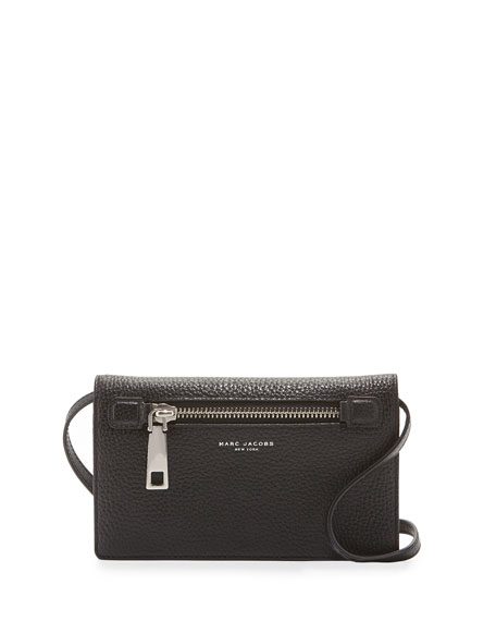 Marc Jacobs Gotham Leather Wallet-On-Strap, Black