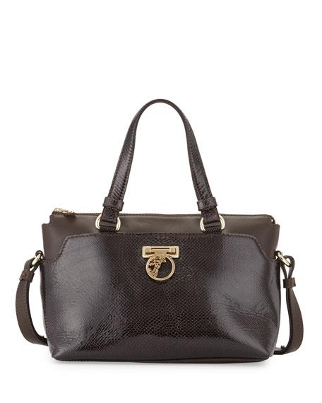 Leather Satchel Bag, Dark Brown/Gold
