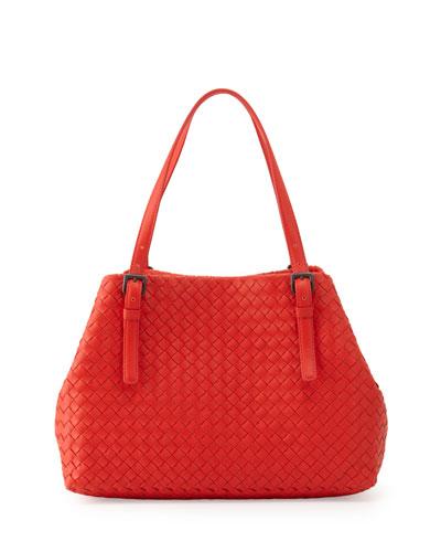 Intrecciato Medium A-Shaped Tote Bag, Vesuvio Red