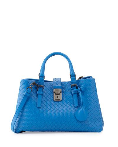 Bottega Veneta Mini Roma East-West Tote Bag, Bluette