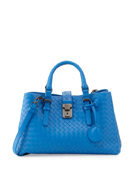 Bottega Veneta Mini Roma East-West Tote Bag, Bluette