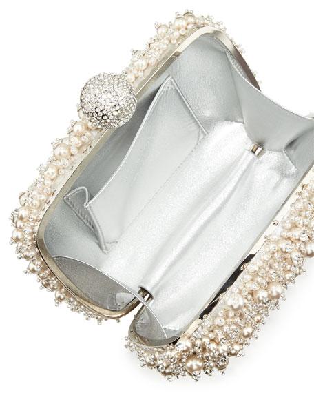 Caviar Embellished Minaudiere, Pearl