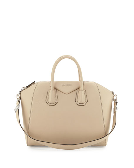 Antigona Medium Leather Satchel Bag, Beige Buff