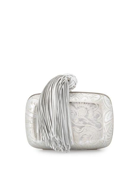 Jaipur Paisley Silk Satin Minaudiere Bag, Silver