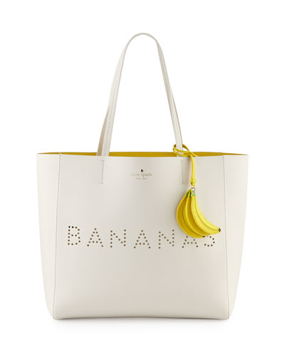 hallie leather bananas tote bag, cement