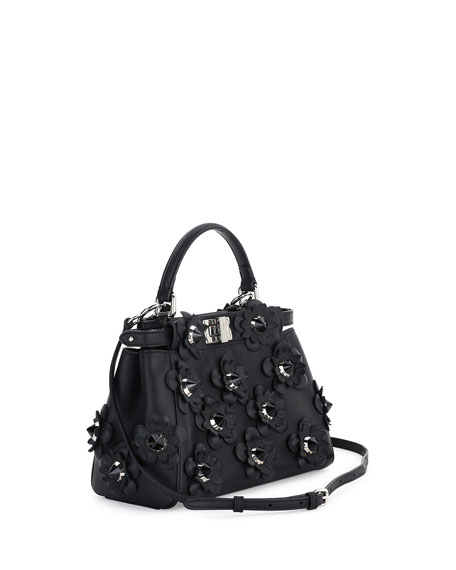 Peekaboo Mini Allover Flowers Satchel Bag, Black