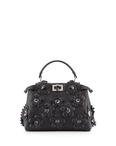 Peekaboo Mini Allover Flowers Satchel Bag, Black