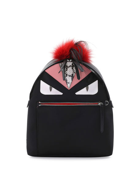 Fendi Monster Fur Mohawk Backpack, Black Multi