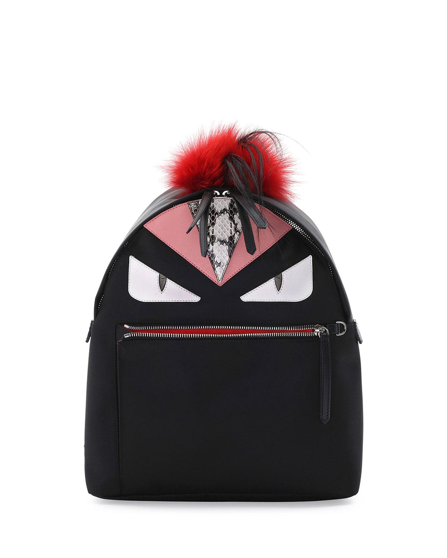 6bd91e7e833 Fendi Monster Fur Mohawk Backpack, Black Multi   Neiman Marcus
