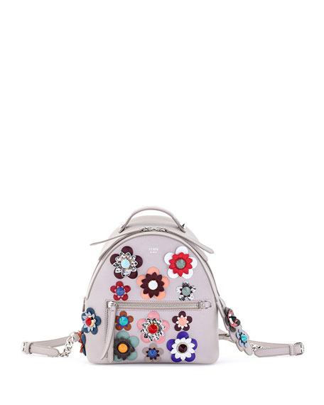 Fendi Mini Allover Flowers Backpack, Taupe